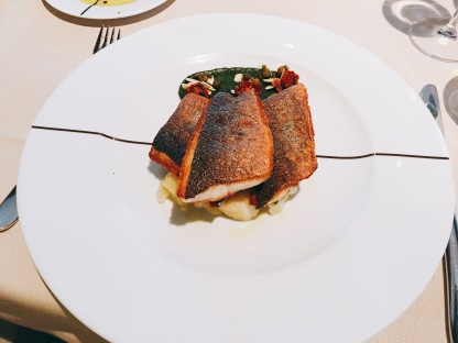 Pan fried sea bass with potatoes