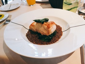 Seared hamour with lentils