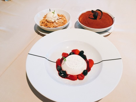 Apple Crumble, Panna Cotta and Tiramisu